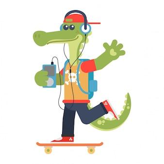 Coccodrillo felice su uno skateboard ascoltando musica rock