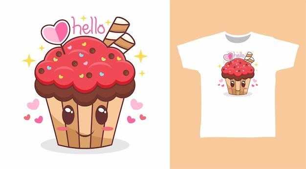 Disegno della maglietta dei cartoni animati di cupcake felice