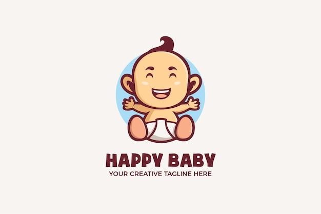 Modello di logo del personaggio della mascotte del bambino sveglio felice