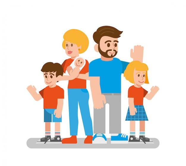 Felice carino grande giovane famiglia tradizionale con genitori e figli che stanno e agitando con le mani per dire ciao illustrazione di stile moderno design piatto personaggio dei cartoni animati persone