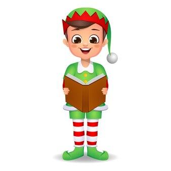 Ragazzo ragazzo carino felice che indossa abiti da elfo e canta una canzone