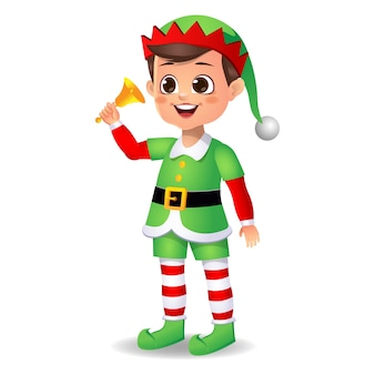 Felice ragazzo carino ragazzo che indossa un abito da elfo con campana
