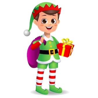 Felice ragazzo carino ragazzo che indossa un abito da elfo