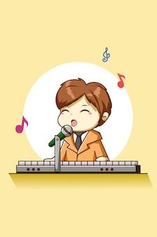 Ragazzo felice e carino che suona l'illustrazione del personaggio dei cartoni animati del pianoforte