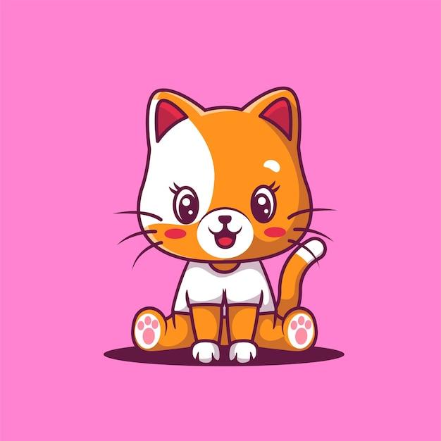 Illustrazione del fumetto del gatto sveglio felice.
