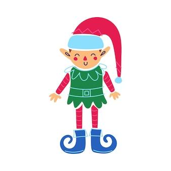 Felice simpatico personaggio elfo buon natale felice anno nuovo fumetto illustrazione festiva gnomo isolato