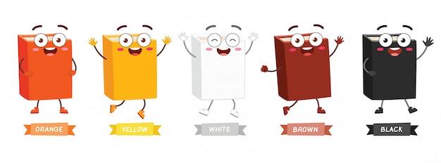 Libro della mascotte personaggio carino felice con molti colori
