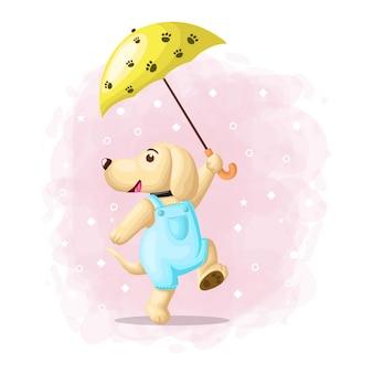 Cane sveglio felice con il vettore dell'illustrazione dell'ombrello