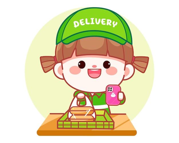 Felice ragazza carina consegna cibo e metti nell'illustrazione di arte del fumetto del logo dell'insegna della scatola