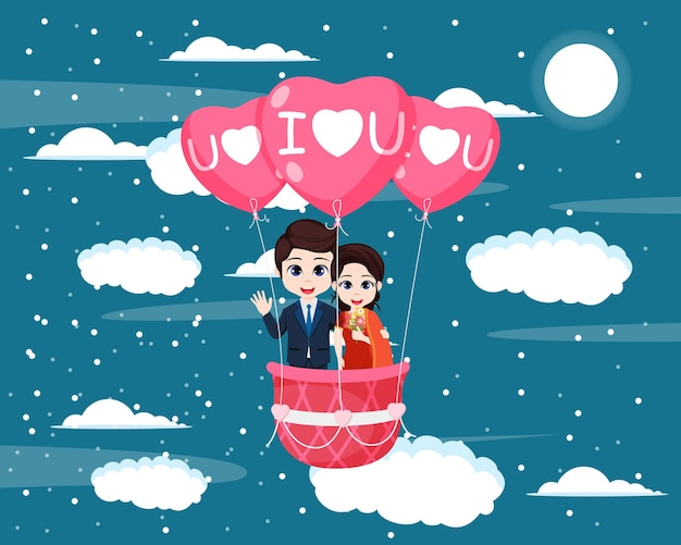 Carattere di ragazzo e ragazza bambino carino felice insieme ondeggiante in mongolfiere che volano nel cielo con nuvole e luna