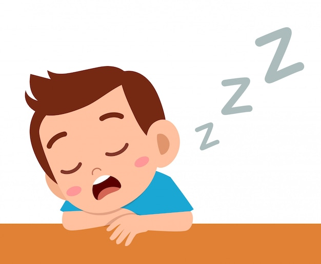 Sonno sveglio felice del ragazzo del bambino nella classe