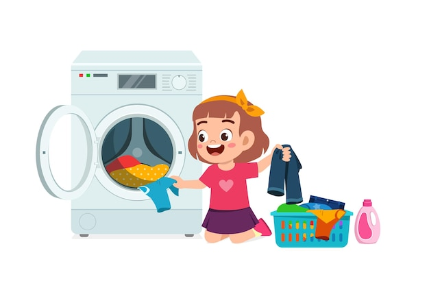 Felice ragazzo carino fare il bucato con lavatrice