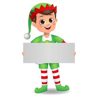 Bambino carino felice che indossa un abito da elfo