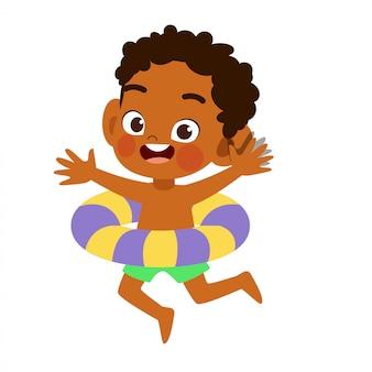 Bambino sveglio felice con il vettore dell'anello di nuotata