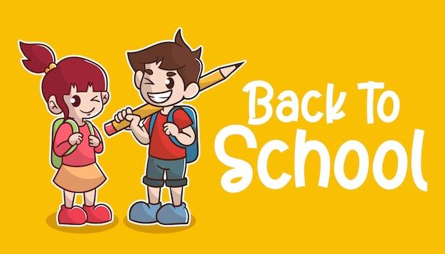 Happy cute kids ragazzo e ragazza, torna a scuola
