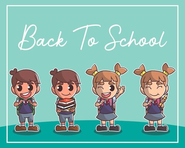 Carattere carino ragazzo e ragazza carino bambini felici, ritorno a scuola
