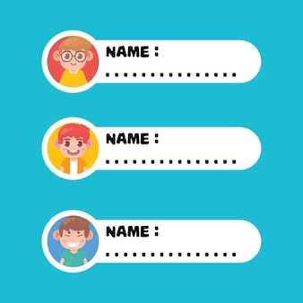 Tag di nome di ragazzi simpatici bambini felici