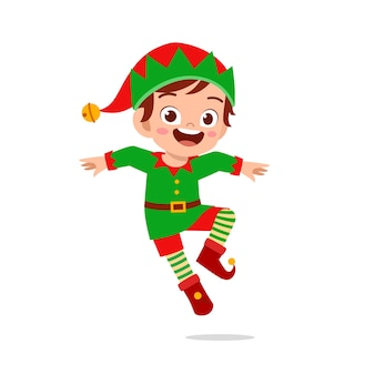 Felice carino ragazzino ragazzo e ragazza che indossa il costume di natale elfo verde