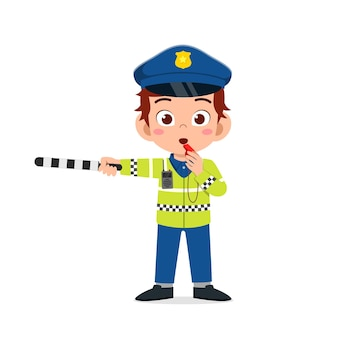 Felice carino ragazzino ragazzo che indossa l'uniforme della polizia e gestire il traffico