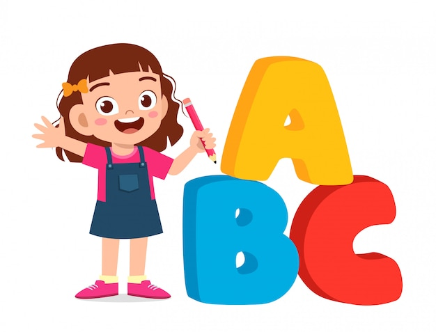 Felice ragazzo carino bambino con alfabeto