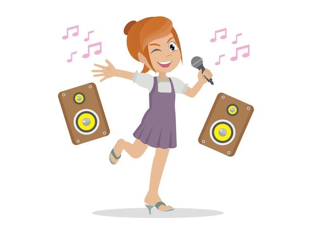 Una ragazzina carina e felice canta una canzone