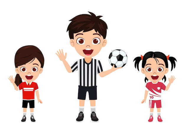 Carattere di ragazze ragazzino sveglio felice che ondeggia con arbitro con calcio con bella maglia con espressione allegra isolata