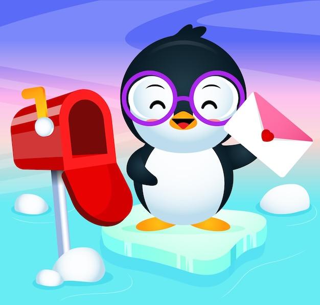 Pinguino sveglio felice ha ricevuto una lettera