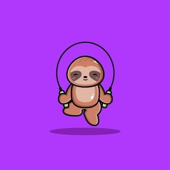 Felice simpatico bradipo gioca con la corda per saltare