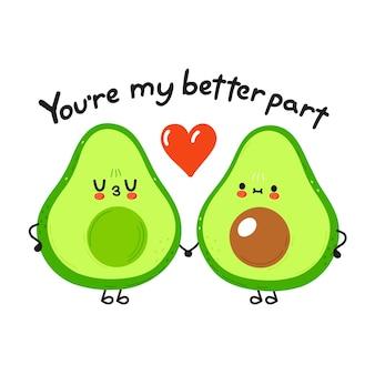 Felice coppia sorridente carina di avocado innamorata
