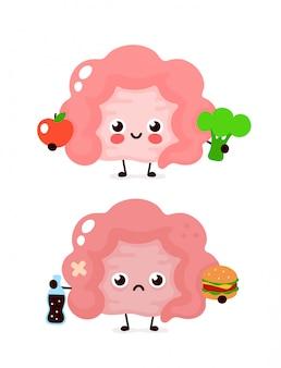 Felice carino sorridente sano con broccoli e mela e triste intestino malato con bottiglia di soda e hamburger. progettazione moderna dell'icona dell'illustrazione del personaggio dei cartoni animati di stile di vettore. cibo sano, concetto di intestino
