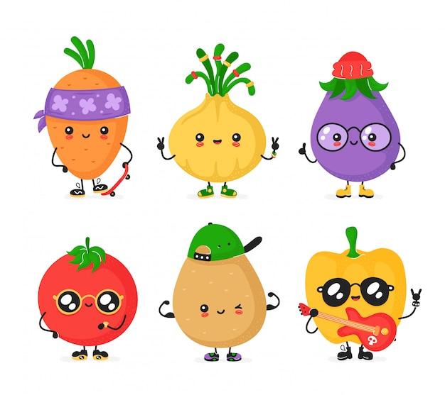 Felice carino insieme vegerable sorridente. collezione di personaggi alla moda in stile cartone animato piatto.