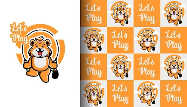 Felice carino tigre gioca con la corda per saltare con motivo senza cuciture