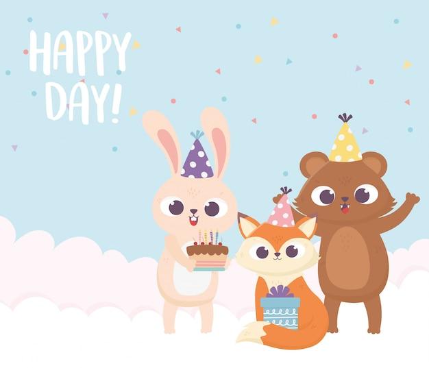 Felice giorno, orso coniglio volpe con torta cappello cappello e illustrazione regalo