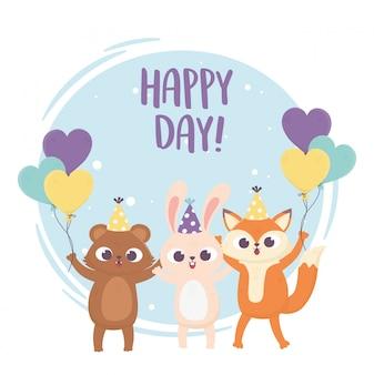Felice giorno, orso coniglio e volpe con illustrazione di palloncini cappello partito
