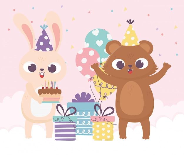 Buon giorno, coniglio dell'orso con l'illustrazione dei contenitori e dei palloni di regalo della torta del cappello del partito
