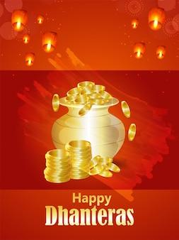 Sfondo di celebrazione felice dhanteras