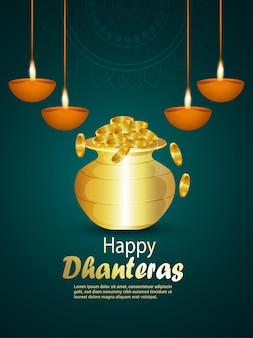 Volantino di celebrazione felice dhanteras con vaso di monete d'oro