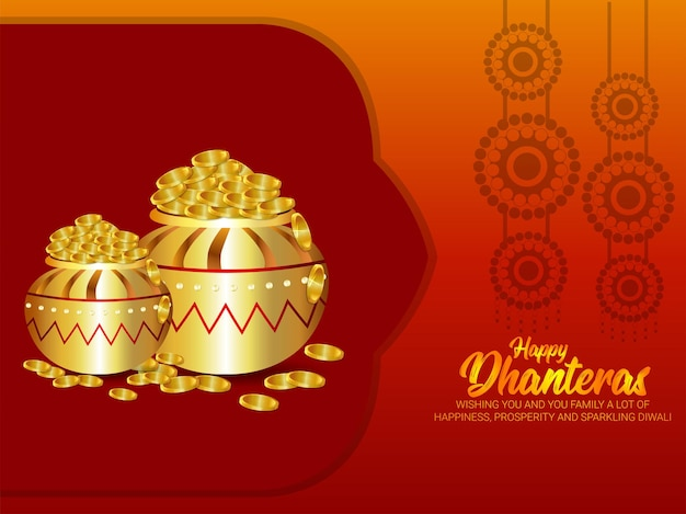 Cartolina d'auguri felice celebrazione dhanteras su sfondo creativo