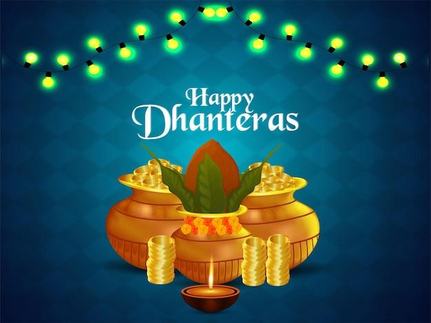 Cartolina d'auguri felice celebrazione dhanteras con moneta d'oro creativa e kalash