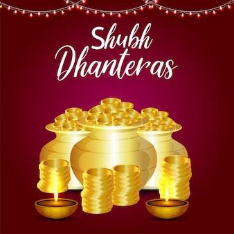 Cartolina d'auguri felice celebrazione dhanteras con vaso di monete d'oro creativo e kalash