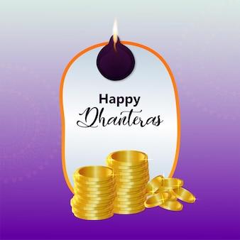 Felice biglietto di auguri per la celebrazione di dhanteras con vaso di monete d'oro e moneta d'oro
