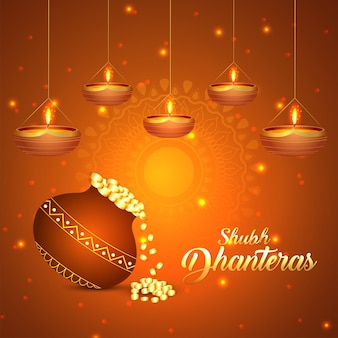 Cartolina d'auguri felice celebrazione dhanteras con illustrazione vettoriale