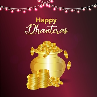 Fondo felice del partito di celebrazione di dhanteras con la pentola della moneta d'oro
