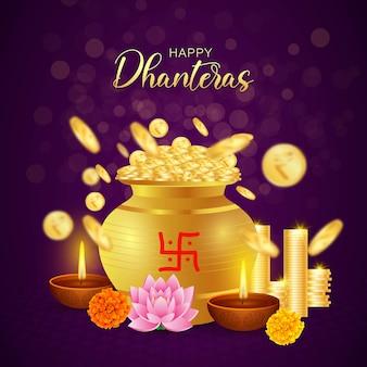 Happy dhanteras, festival diwali, monete d'oro ricchezza prosperità, laxmi puja