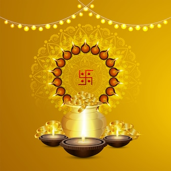 Felice dhanteras, felice celebrazione di diwali sfondo con diya e pentola d'oro