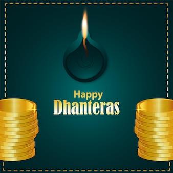 Biglietto di auguri per la celebrazione del festival indiano dhanteras felice con moneta d'oro e diwali diya