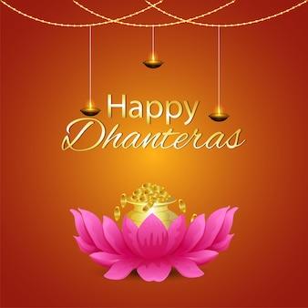 Cartolina d'auguri felice di celebrazione del festival indiano di dhanteras con pentola di monete d'oro