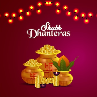 Cartolina d'auguri felice festival indiano dhanteras con vaso di monete d'oro e kalash
