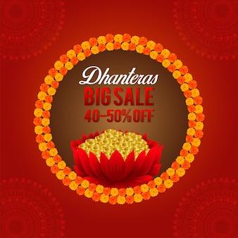 Cartolina d'auguri felice festival indiano dhanteras con moneta d'oro e fiore di loto
