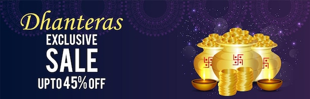 Felice striscione di vendita dhanteras con vaso di monete d'oro e diwali diya